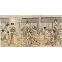 喜多川歌麿: Three Drunken Courtesans, a Triptych: the Angry Drunk, the Weepy Drunk, the Giggly Drunk (Keisei sannin yoi, sanpuku no uchi: haratate jôgo, naki jôgo, warai jôgo) - ボストン美術館