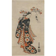 鳥居清倍: Cherry Blossoms of Love (Koi-zakura): Actor Sanjô Kantarô II (?) as Yaoya Oshichi - ボストン美術館