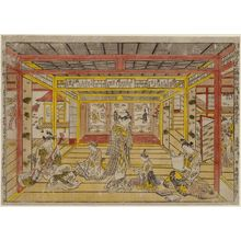 奥村政信: Perspective Picture of a Triptych of the Three Evening Poems, by the Authentic Originator of Color Printing and Perspective Prints (Uki-e sanseki sanpukutsui, benizuri-e narabi ni uki-e kongen shômei) - ボストン美術館