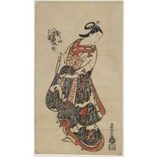 Okumura Masanobu: Courtesan with a Stick Puppet Representing Ôtani Hiroji I as a Fishmonger - Museum of Fine Arts