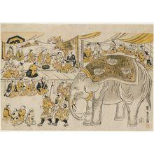 鳥居清倍: The Arrival of the Elephant - ボストン美術館