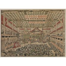 Utagawa Toyoharu: Kabuki Play at the Three Great Theaters, a Newly Published Perspective Print (Shinpan uki-e san shibai Kabuki kyôgen no zu) - Museum of Fine Arts