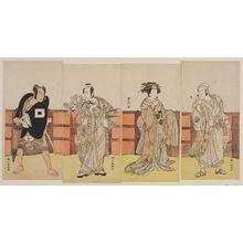 Katsukawa Shunko: Actors Onoe Matsusuke as Tametsugu, a yakko, Ichikawa Danjuro V as Yoshiie, Osagawa Tsuneyo II as Onoe no Mae, Nakamura Nakazo as Uto Yasukata - Museum of Fine Arts