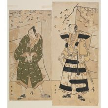 勝川春英: Actors Sakata Hangorô III (R) and Ichikawa Yaozô (L) (as Teraoka Heiemon?) - ボストン美術館