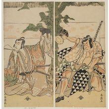 勝川春英: Actors Ichikawa Monnosuke II as Soga no Goro and Matsumoto Koshiro IV as Suketsune - ボストン美術館