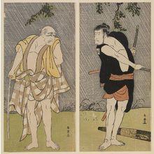勝川春英: Actors Ichikawa Komazô II as Ono Sadakurô (R) and Ichikawa Danjûrô V (L) - ボストン美術館