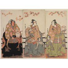 Katsukawa Shunjô: Actors Nakamura Nakazô I as Watanabé no Tsuna (R), Ichikawa Monnosuke II as Urabe no Suetaka (C), and Ichikawa Danjûrô V as Sakata Kintoki (L.) - ボストン美術館