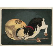 Kobayashi Kiyochika: Cat Catching a Rat - Museum of Fine Arts