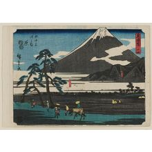 歌川広重: No. 14 - Hara: Ashitaka Mountains and Fuji Marsh (Ashitakayama, Fujinuma), from the series The Tôkaidô Road - The Fifty-three Stations (Tôkaidô - Gojûsan tsugi no uchi) - ボストン美術館