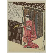 Suzuki Harunobu: Woman Holding a Branch of Yamabuki (Parody of the Story of Ôta Dôkan) - Museum of Fine Arts