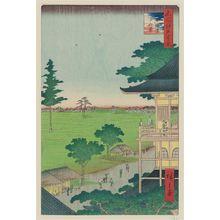 Utagawa Hiroshige: Spiral Hall, Five Hundred Rakan Temple (Gohyaku Rakan Sazaidô), from the series One Hundred Famous Views of Edo (Meisho Edo hyakkei) - Museum of Fine Arts