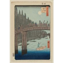 歌川広重: Bamboo Yards, Kyôbashi Bridge (Kyôbashi Takegashi), from the series One Hundred Famous Views of Edo (Meisho Edo hyakkei) - ボストン美術館