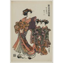 Isoda Koryusai: Chôzan of the Chôjiya, from the series Models for Fashion: New Year Designs as Fresh as Young Leaves (Hinagata wakana no hatsu moyô) - Museum of Fine Arts