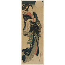 Keisai Eisen: Woman with Letter under Full Moon - Museum of Fine Arts