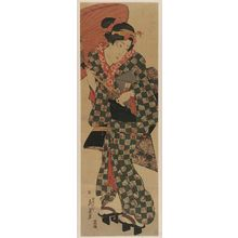 Keisai Eisen: Young Woman Walking under Umbrella - Museum of Fine Arts