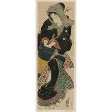Keisai Eisen: Woman Opening Umbrella - Museum of Fine Arts