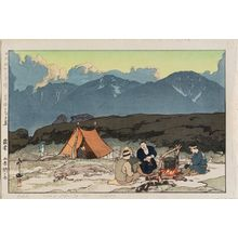 吉田博: Camping, from the series Southern Japan Alps (Nihon Minami Arupusu shû) - ボストン美術館