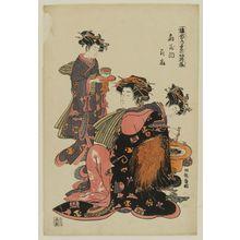 Isoda Koryusai: Hanaôgi of the Ôgiya, from the series Models for Fashion: New Year Designs as Fresh as Young Leaves (Hinagata wakana no hatsu moyô) - Museum of Fine Arts