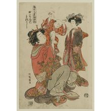 磯田湖龍齋: Morokoshi of the Echizenya, from the series Models for Fashion: New Year Designs as Fresh as Young Leaves (Hinagata wakana no hatsu moyô) - ボストン美術館