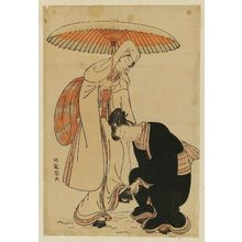 Isoda Koryusai: Young Man Removing Snow from Woman's Geta - Museum of Fine Arts