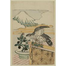 Isoda Koryusai: Dream Symbols of the New Year: Hawk, Eggplant and Mount Fuji - Museum of Fine Arts