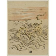 Isoda Koryusai: Tiger and Cubs Crossing a Stream - Museum of Fine Arts