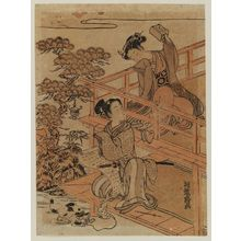 Isoda Koryusai: Parody of the Letter-reading Scene in Act VII of Chûshingura, with a Cat - Museum of Fine Arts