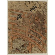 Isoda Koryusai: Young Women on a Bridge Looking at Carp - Museum of Fine Arts