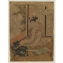 Isoda Koryusai: Dog Delivering a Love Letter to a Young Woman - Museum of Fine Arts