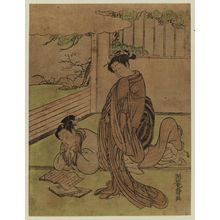磯田湖龍齋: Woman about to Deliver a Letter to a Young Man Reading a Book - ボストン美術館