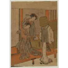 Isoda Koryusai: Courtesan and Kamuro Looking at the Face of a Komusô Reflected in a Mirror - Museum of Fine Arts