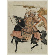 Isoda Koryusai: Warrior in Armor on Horseback (Minamoto Yoshitsune?) - Museum of Fine Arts