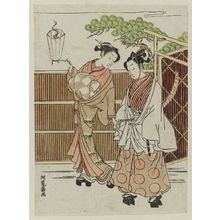 磯田湖龍齋: Parody of Ushiwakamaru (Yoshitsune) Being Taken to Meet Jôruri-hime - ボストン美術館