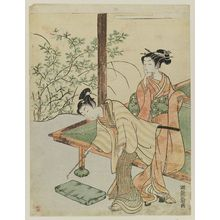 Isoda Koryusai: Young Couple in Garden - Museum of Fine Arts