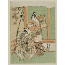 一筆斉文調: Actors Bandô Hikosaburô III as Kudô Kanaimaru and Onoe Matsusuke as Yawata no Saburô - ボストン美術館