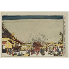 北尾重政: Perspective Picture of the Sleeping Dragon Plum in the Plum Garden at Kameido (Uki-e Kameido ume yashiki Garyôbai no zu) - ボストン美術館