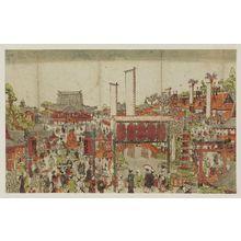 北尾重政: Perspective Picture of the Special Viewing at Zenkô-ji Temple in Shinano Province (Uki-e Shinshû Zenkô-ji on-kaichô no zu) - ボストン美術館