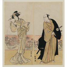 勝川春章: Actors Matsumoto Kôshirô IV as Yuranosuke (R) and Nakamura Rikô I as a Courtesan (L) - ボストン美術館