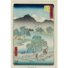 歌川広重: No. 36, Goyu: Motono-ga-hara and Motozaka Pass (Goyu, Motono-ga-hara Motozaka goe), from the series Famous Sights of the Fifty-three Stations (Gojûsan tsugi meisho zue), also known as the Vertical Tôkaidô - ボストン美術館