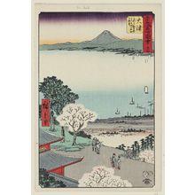 Utagawa Hiroshige: No. 54, Ôtsu: View of Lake and Town of Ôtsu from Kannon Hall of Mii Temple (Ôtsu, Miidera Kannondô yori Ôtsu no machi kosui chôbô), from the series Famous Sights of the Fifty-three Stations (Gojûsan tsugi meisho zue), a.k.a. the Vertical Tôkaidô - Museum of Fine Arts