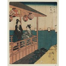 歌川広重: Kanagawa, from the series Fifty-three Stations [of the Tôkaidô Road] (Gojûsan tsugi), also known as the Jinbutsu Tôkaidô - ボストン美術館