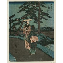 歌川広重: Kakegawa, from the series Fifty-three Stations [of the Tôkaidô Road] (Gojûsan tsugi), also known as the Jinbutsu Tôkaidô - ボストン美術館
