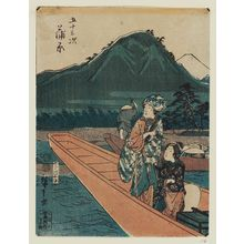 歌川広重: Kanbara, from the series Fifty-three Stations [of the Tôkaidô Road] (Gojûsan tsugi), also known as the Jinbutsu Tôkaidô - ボストン美術館