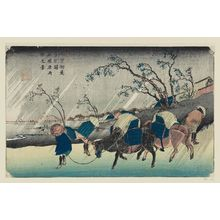 Keisai Eisen: No. 20, Kutsukake Station: Rain on the Plain of Hiratsuka (Kutsukake no eki, Hiratsuka hara uchû no kei), from the series The [Sixty-nine Stations of the] Kisokaidô Road - Museum of Fine Arts