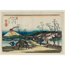 Keisai Eisen: No. 4, Urawa Station: Distant View of Mount Asama (Urawa shuku, Asamayama enbô), from the series The Sixty-nine Stations of the Kisokaidô Road, here called The Stations of the Kiso Road (Kisoji no eki) - Museum of Fine Arts
