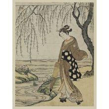 北尾重政: Woman with umbrella looking at frog - ボストン美術館