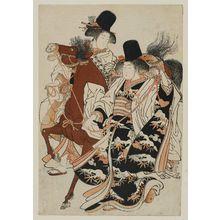 Kitao Shigemasa: Girls dressed as priestesses with horse - Museum of Fine Arts