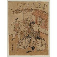 北尾重政: Carrying the Portable Shrine in the Sixth Month (Rokugatsu mikoshi furi), from an untitled series of Twelve Months - ボストン美術館