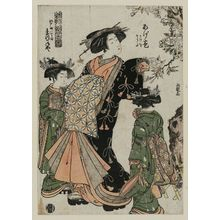 北尾重政: Agemaki of the Matsuganeya, kamuro Kakeo and Souta, from the series - ボストン美術館