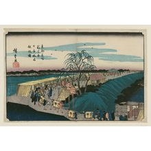 歌川広重: Dawn over Nihon Embankment at Emonzaka in the New Yoshiwara (Shin Yoshiwara Nihon-zutsumi Emonzaka akebono), from the series Famous Places in the Eastern Capital (Tôto meisho) - ボストン美術館